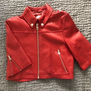 Maje cropped red leather jacket
